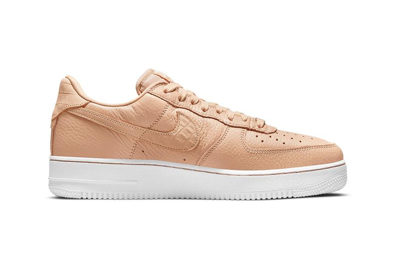 nike air force 1 af1 craft bucket tan beige leather white medial sides swoosh details