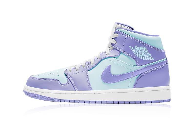 nike air jordan 1 aj1 mid sneakers purple pulse arctic punch glacier blue colorway sneakerhead kicks shoes footwear lateral