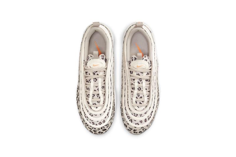 nike air max 97 am97 se womens sneakers cheetah print beige white orange colorway kicks footwear shoes sneakerhead top aerial view insole