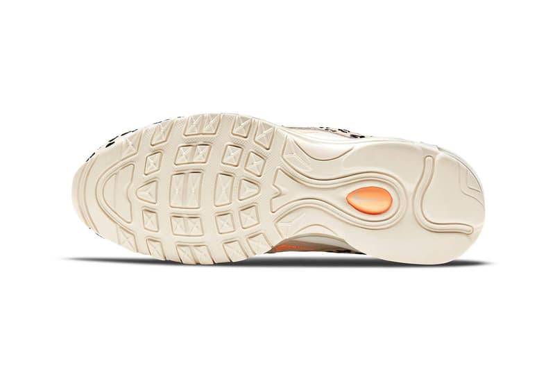 nike air max 97 am97 se womens sneakers cheetah print beige white orange colorway kicks footwear shoes sneakerhead outsole