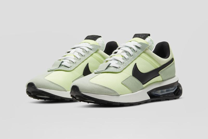 nike air max pre-day volt green black white front toe laterals details close up