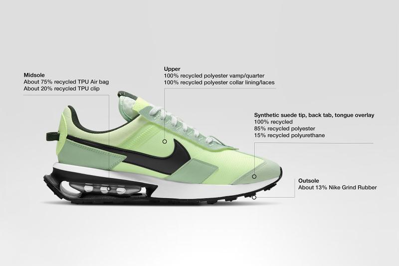 nike air max pre-day volt green black white laterals construction structure