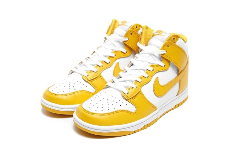 nike dunk high sneakers dark sulfur yellow white colorway kicks sneakerhead shoes footwear lateral