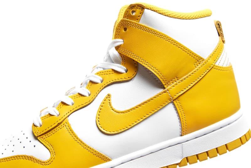nike dunk high sneakers dark sulfur yellow white colorway kicks sneakerhead shoes footwear lateral close up