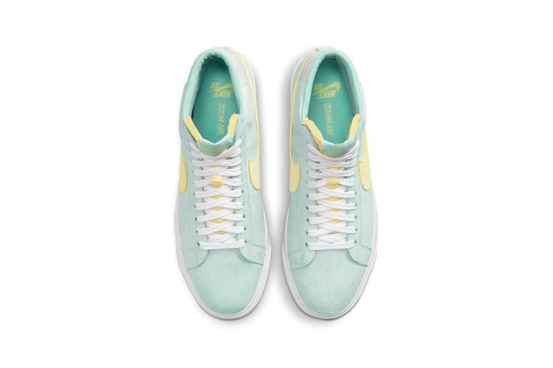 nike sb zoom blazer mid premium sneakers pastel green yellow pink white footwear shoes sneakerhead aerial top view insole