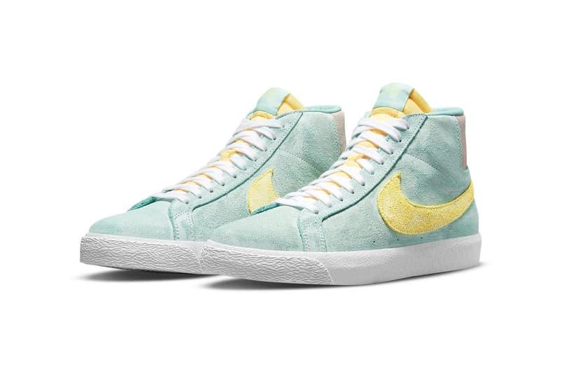 nike sb zoom blazer mid premium sneakers pastel green yellow pink white footwear shoes sneakerhead lateral
