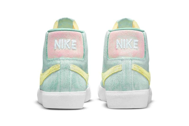 nike sb zoom blazer mid premium sneakers pastel green yellow pink white footwear shoes sneakerhead heel