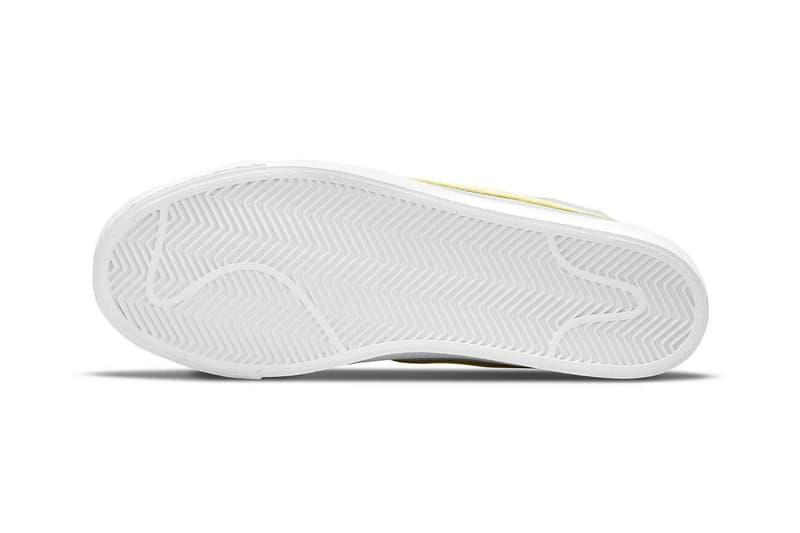 nike sb zoom blazer mid premium sneakers pastel green yellow pink white footwear shoes sneakerhead outsole