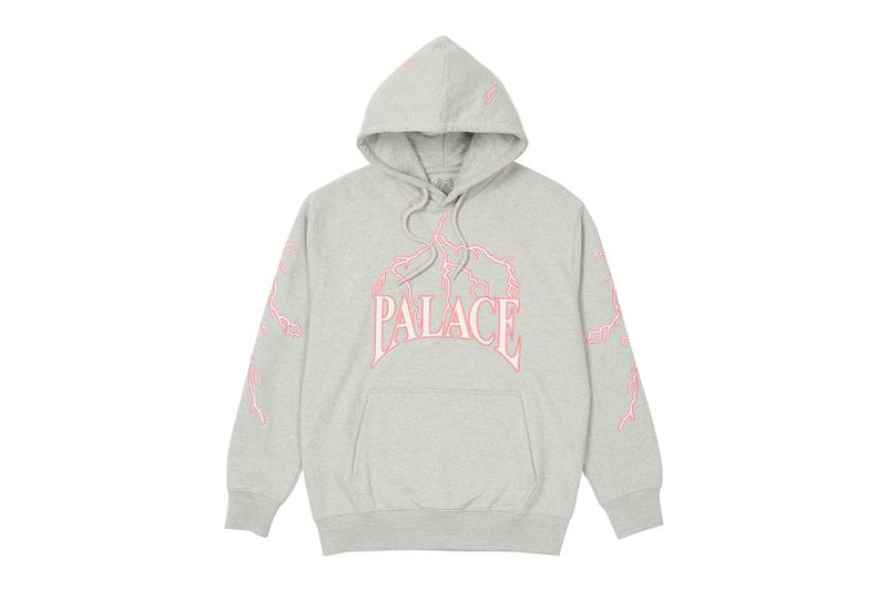 palace spring drop 4 collection hoodie lightning gray pink
