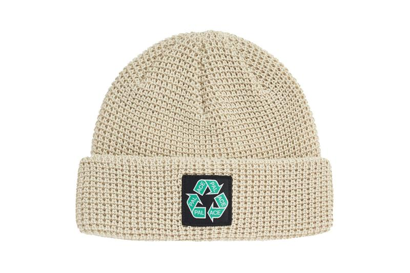 palace spring drop 4 collection logo beanie hat recycle green oatmeal