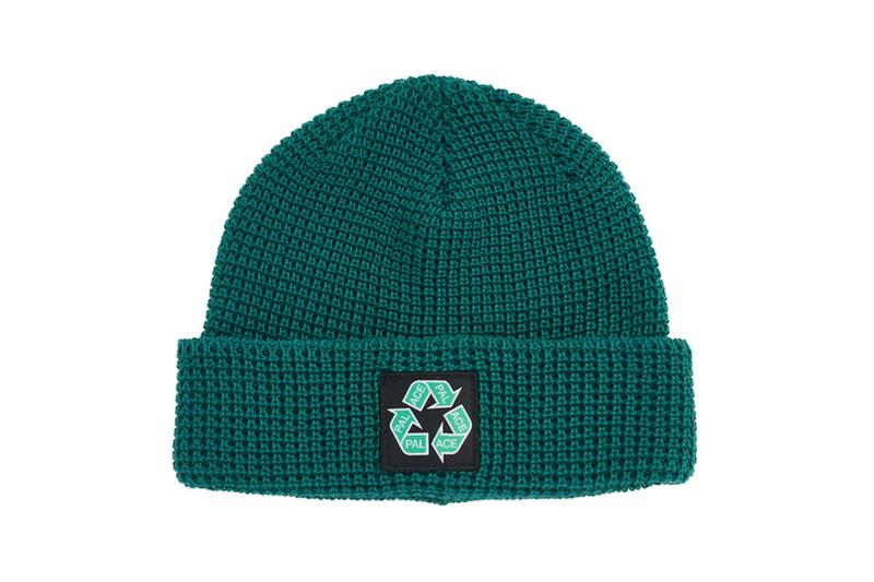 palace spring drop 4 collection logo beanie hat recycle green