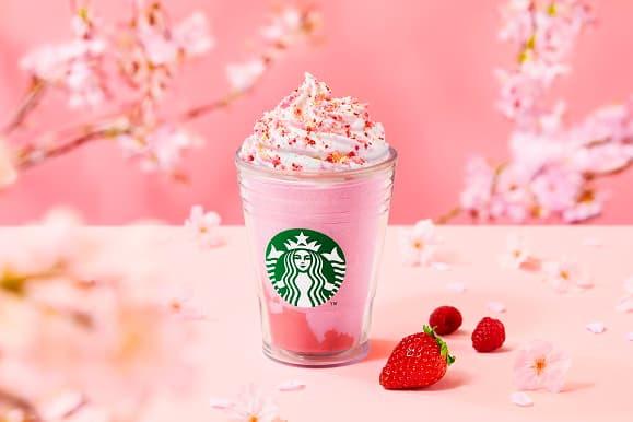 Starbucks Japan Sakura Cherry Blossom Saita Berry Frappuccino Stawberry Raspberry Drink