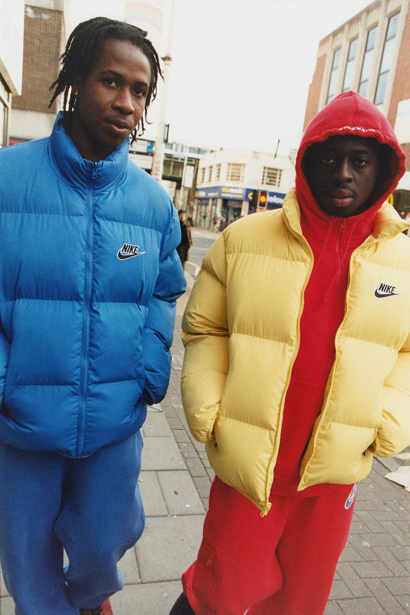 supreme nike collaboration spring drop puffer jackets hoodies blue yellow
