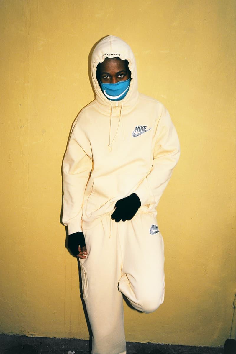supreme nike collaboration spring drop hoodie sweatpants neck warmer mask