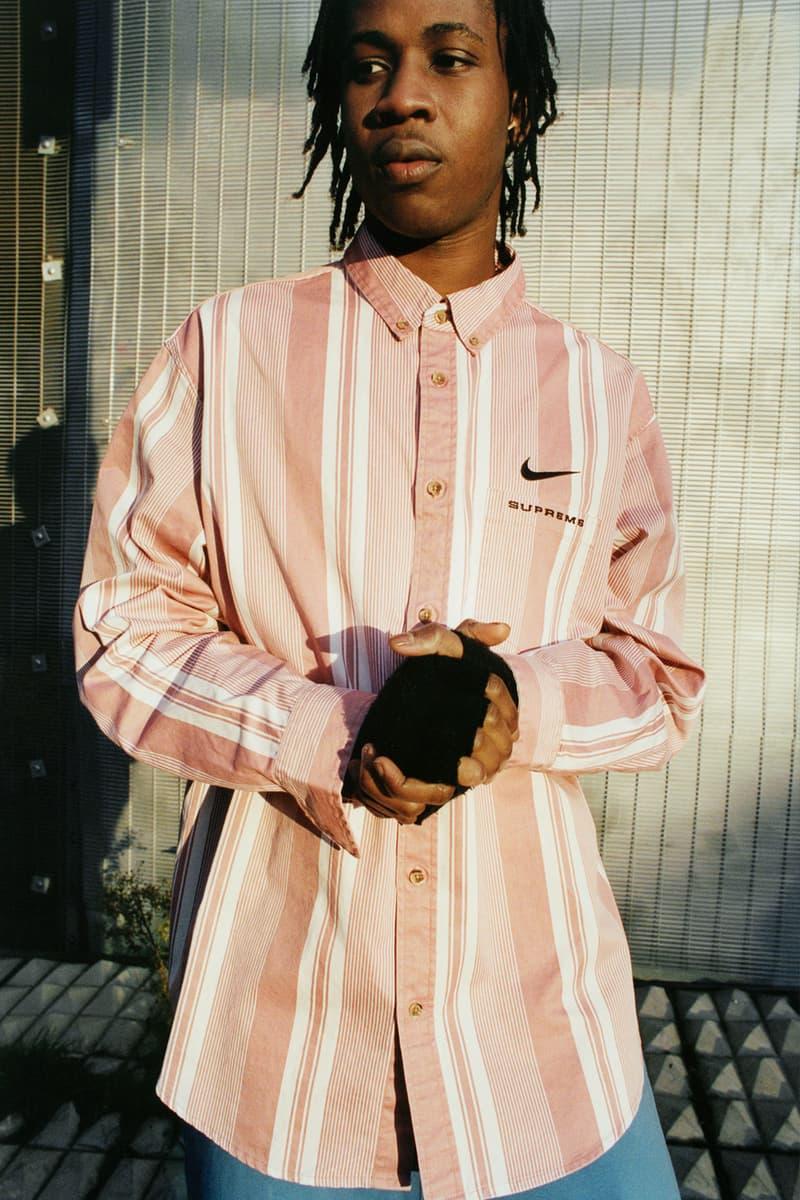 supreme nike collaboration spring drop shirt stripes logo