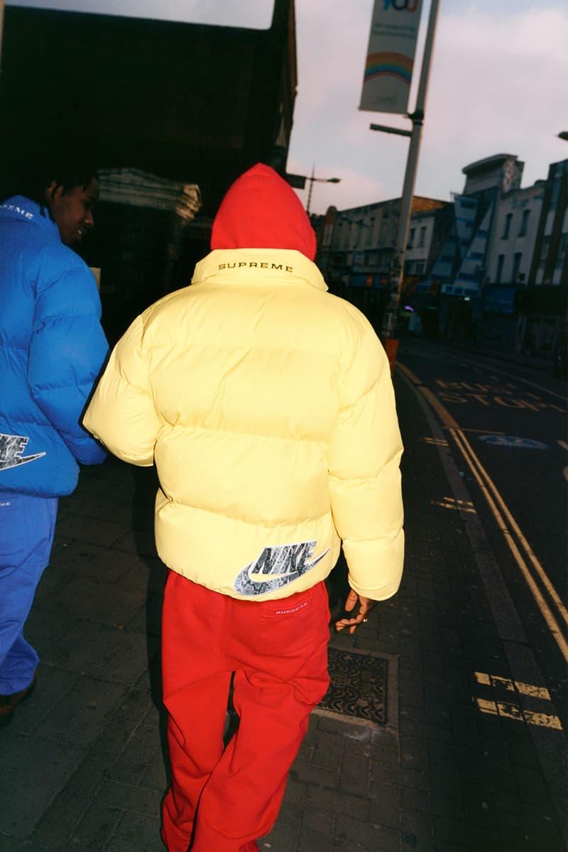 supreme nike collaboration spring drop puffer jacket back hoodie