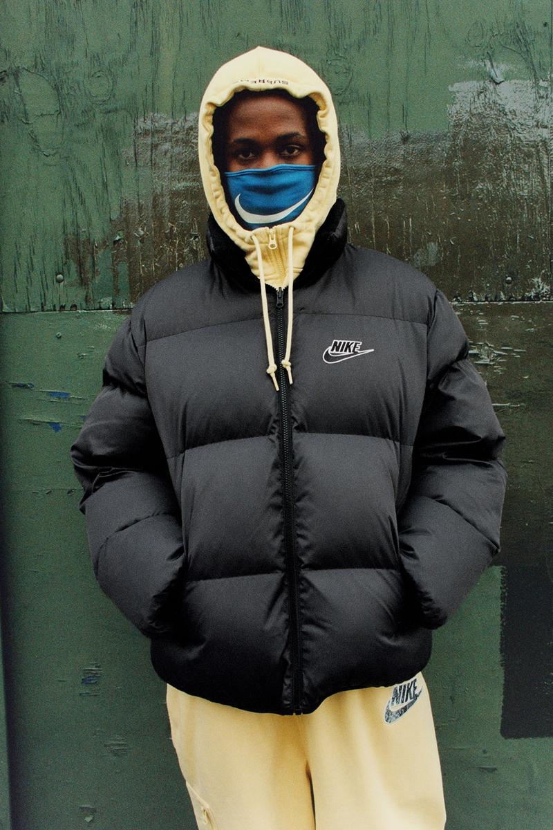 supreme nike collaboration spring drop logo hoodie puffer jacket sweats mask