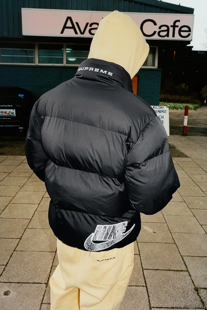 supreme nike collaboration spring drop back puffer jacket logo