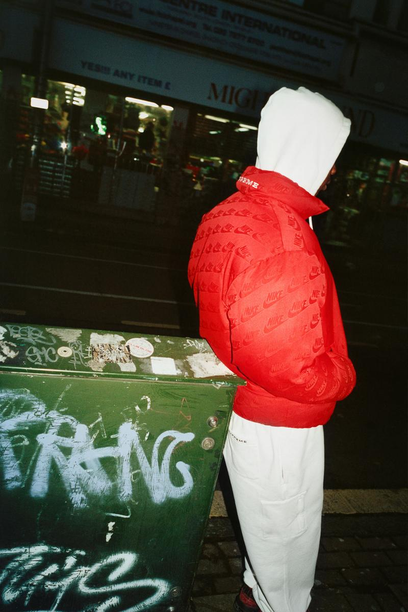 supreme nike collaboration spring drop puffer jacket red hoodie