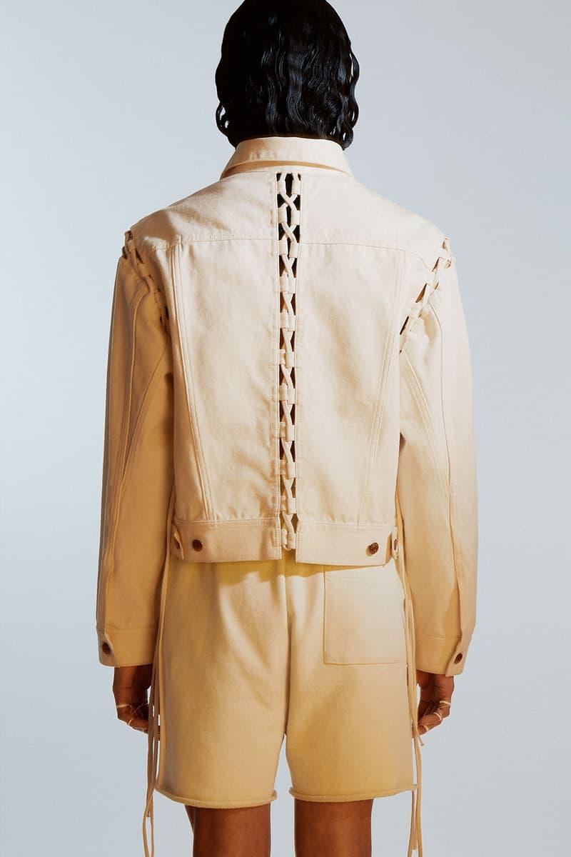weekday hemp jeans couture denim sustainable plant based jacket back laces fringes shorts