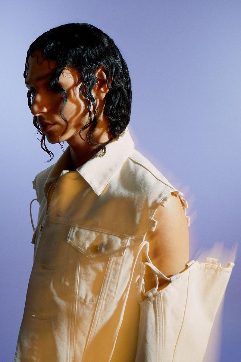 weekday hemp jeans couture denim sustainable plant based jacket sleeve opening laces