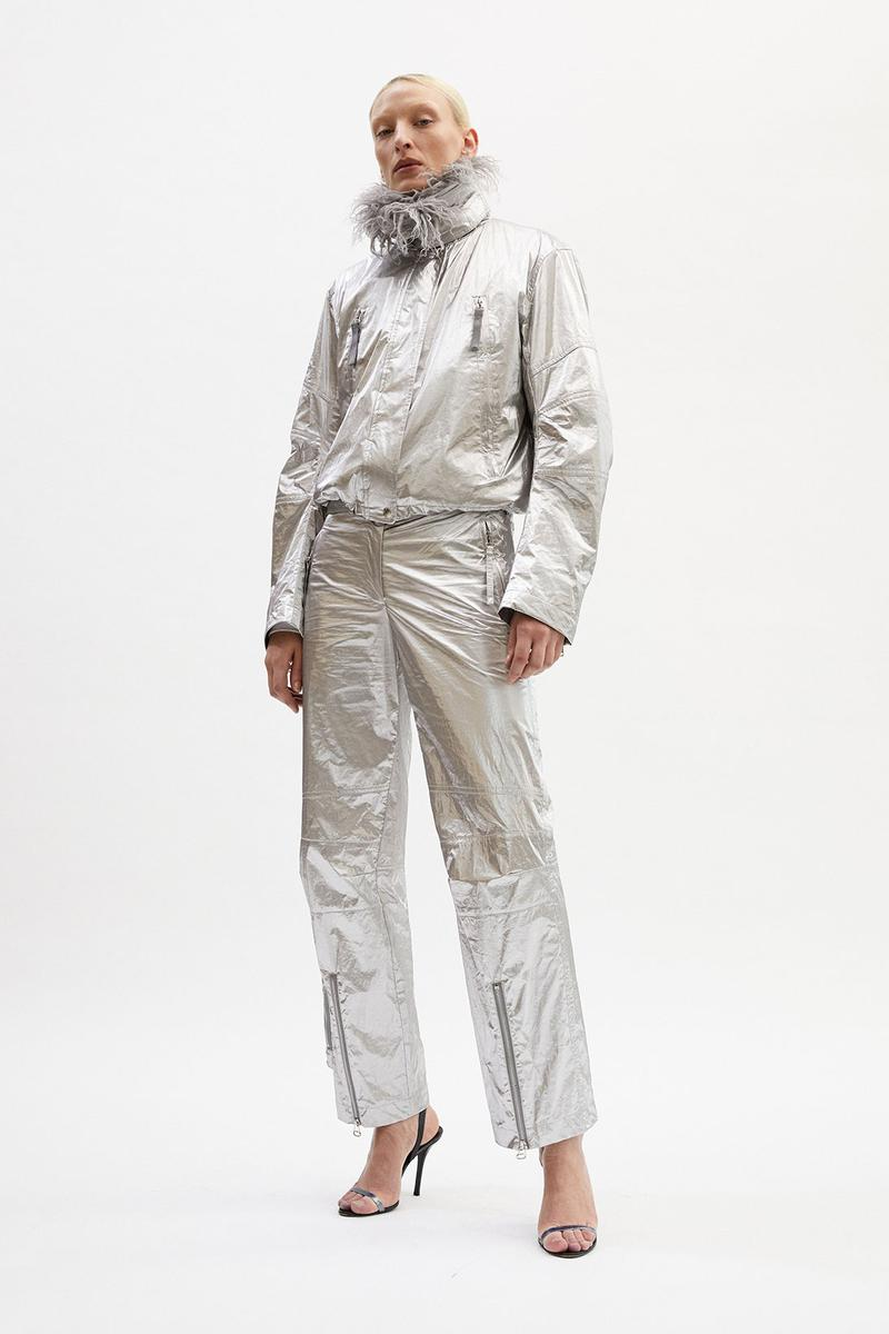 helmut lang fall winter 2021 fw21 collection lookbook silver metallic suit jacket