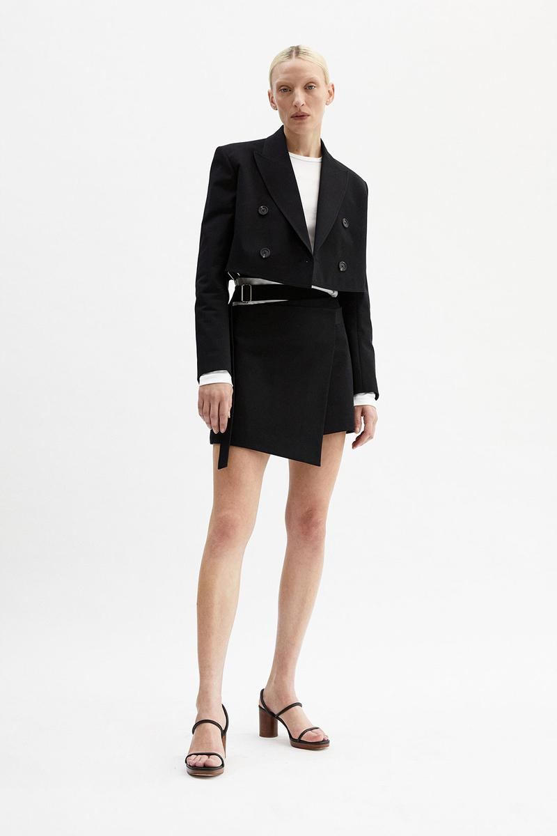 helmut lang fall winter 2021 fw21 collection lookbook black jacket skirt set