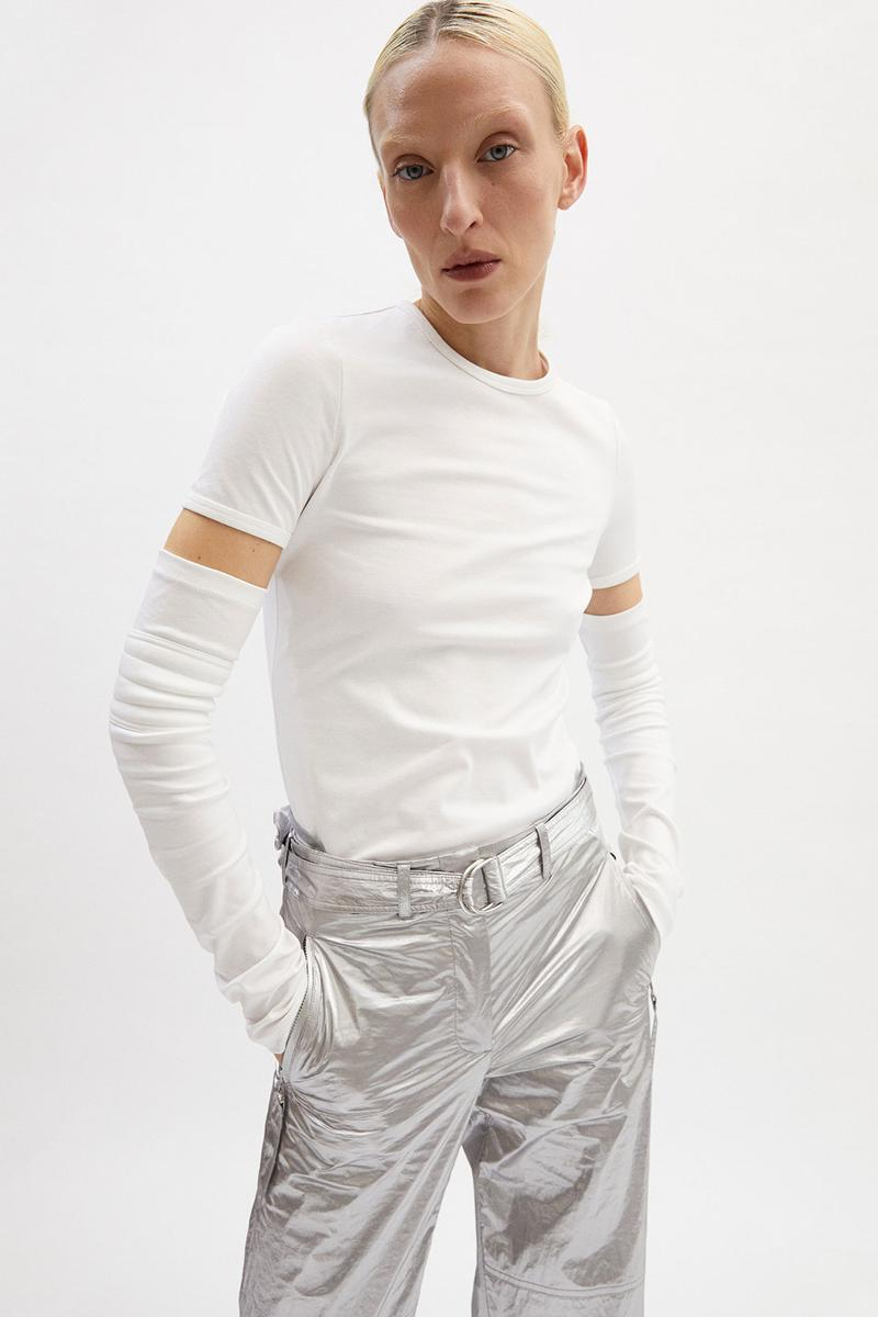 helmut lang fall winter 2021 fw21 collection lookbook white t-shirt silver pants