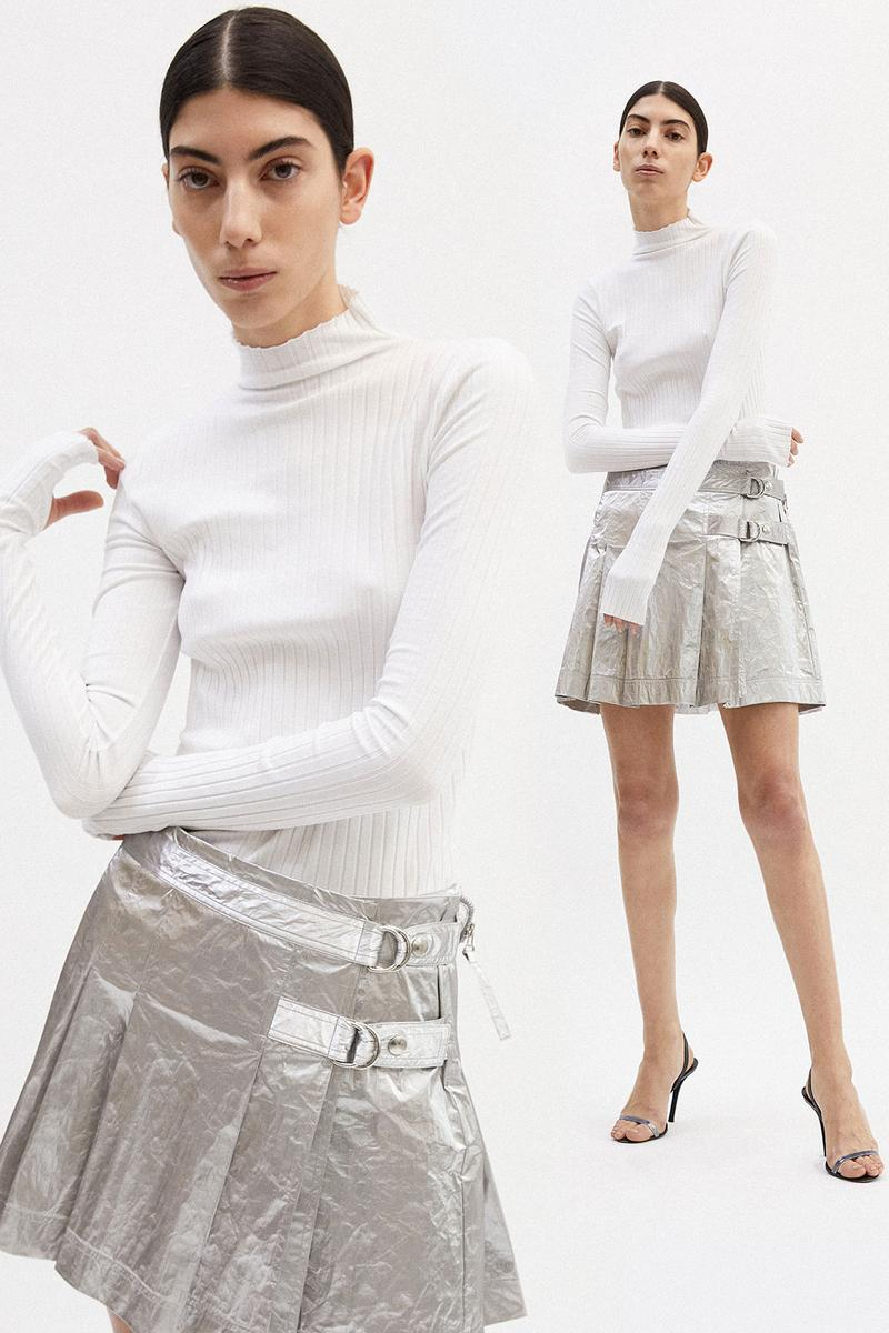 helmut lang fall winter 2021 fw21 collection lookbook silver skirt pleated