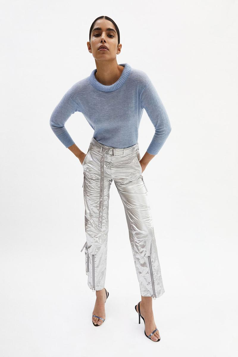 helmut lang fall winter 2021 fw21 collection lookbook sweater metallic pants silver