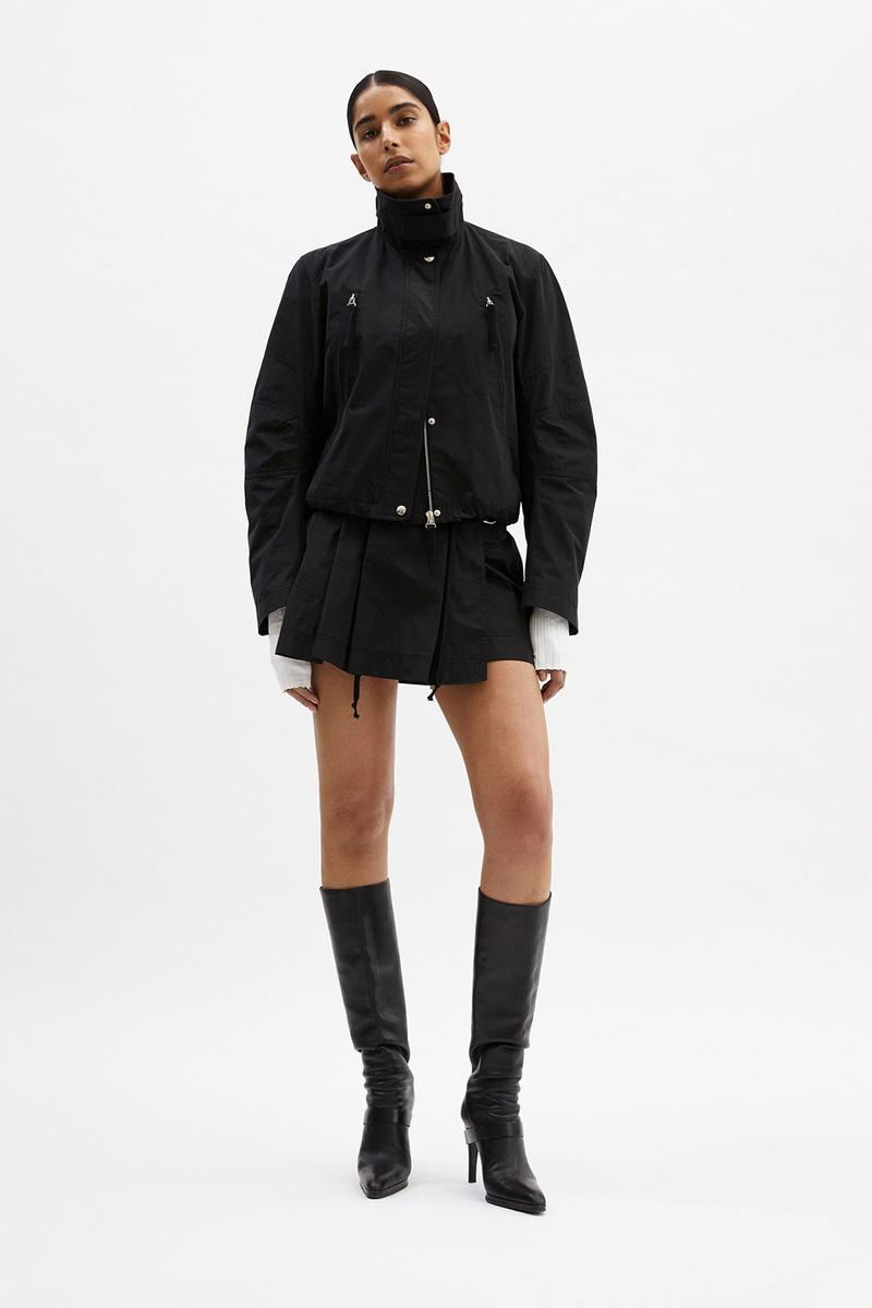 helmut lang fall winter 2021 fw21 collection lookbook black jacket pleated skirt boots