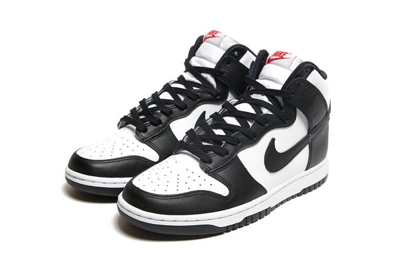 nike dunk high panda black white sneakers official look details upper