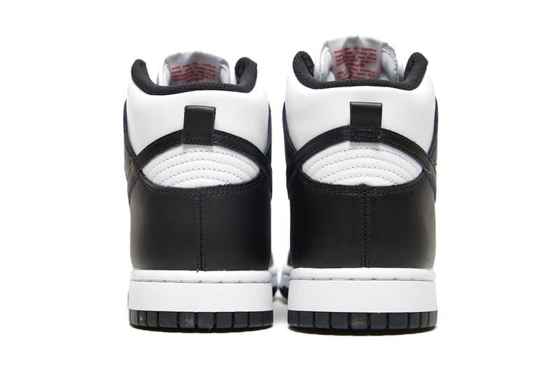 nike dunk high panda black white sneakers official look heel back
