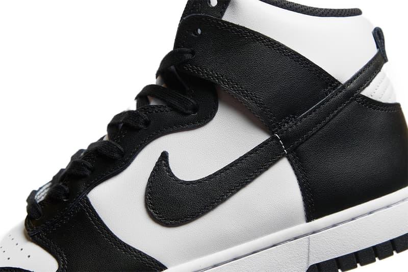 nike dunk high panda black white sneakers official look swoosh details