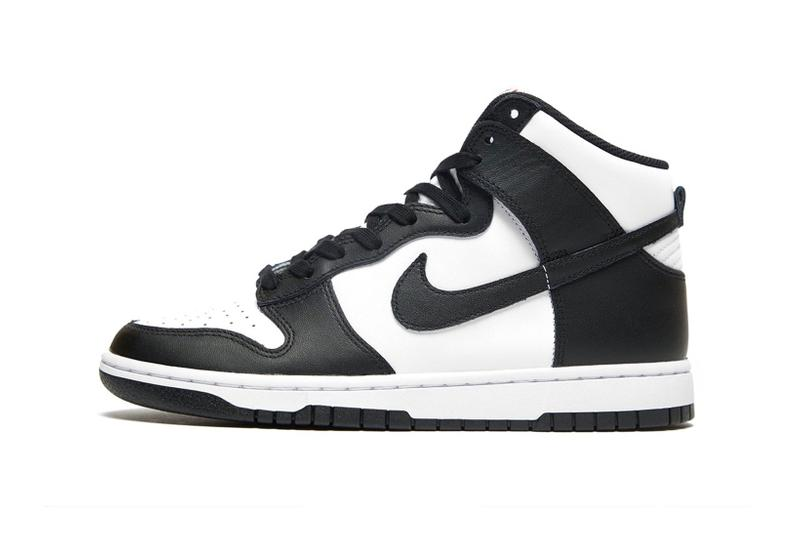 nike dunk high panda black white sneakers official look laterals details
