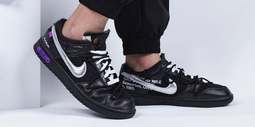 """Take a Detailed Look at the Off-White™ x Nike Dunk Low """"The 50"""" In """"Black/Silver"""""""