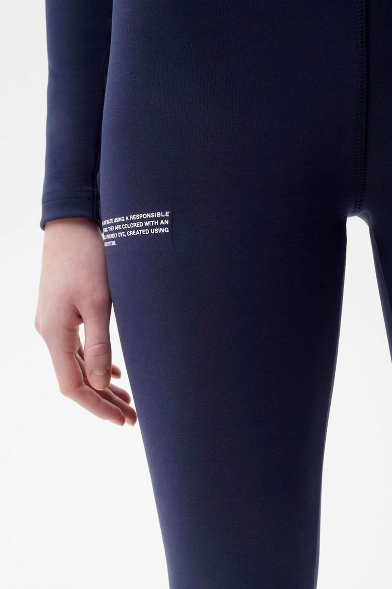 pangaia roica stretch athleisure sustainable collection turtleneck top leggings navy