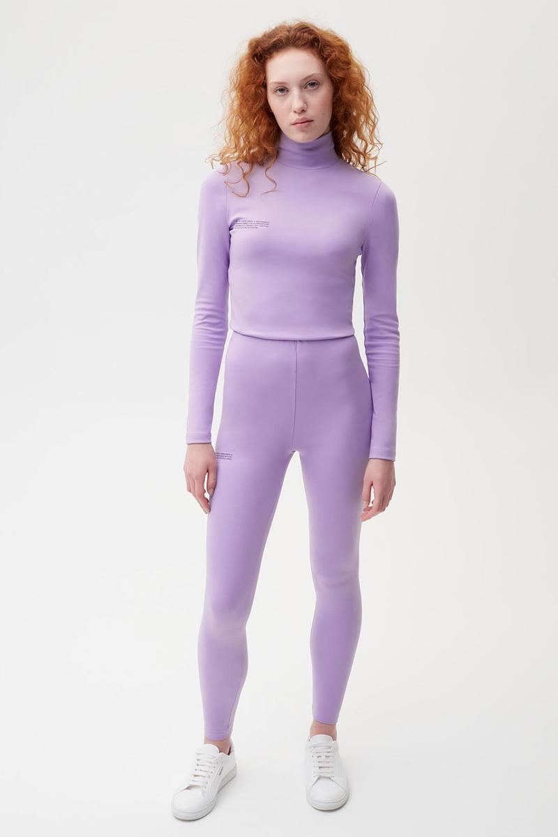 pangaia roica stretch athleisure sustainable collection turtleneck top leggings lilac purple