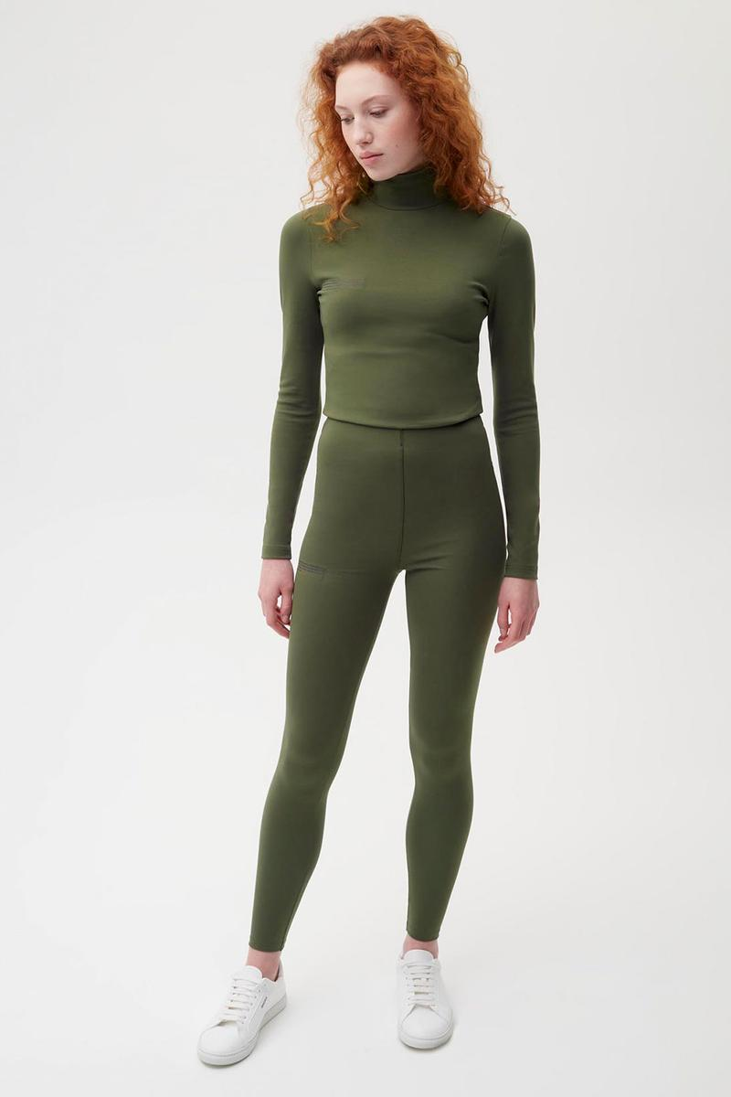 pangaia roica stretch athleisure sustainable collection turtleneck top leggings khaki