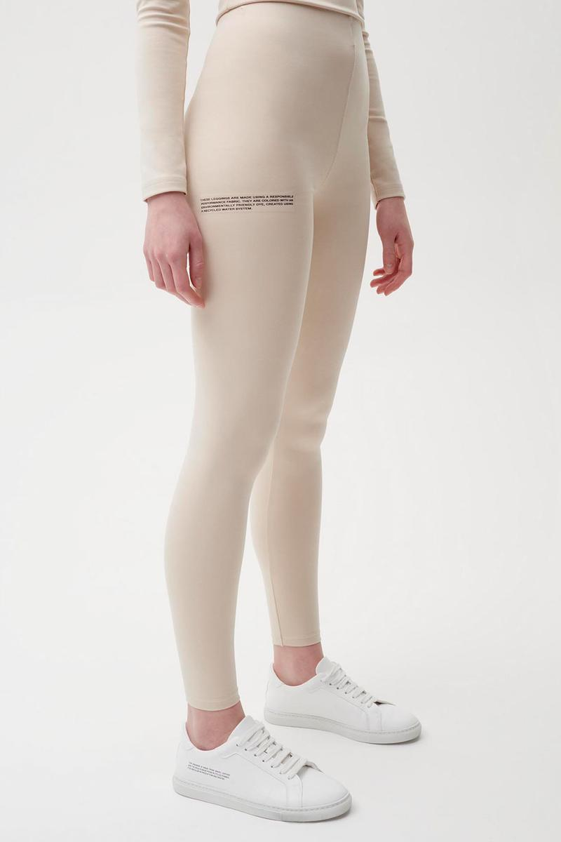 pangaia roica stretch athleisure sustainable collection turtleneck top leggings beige