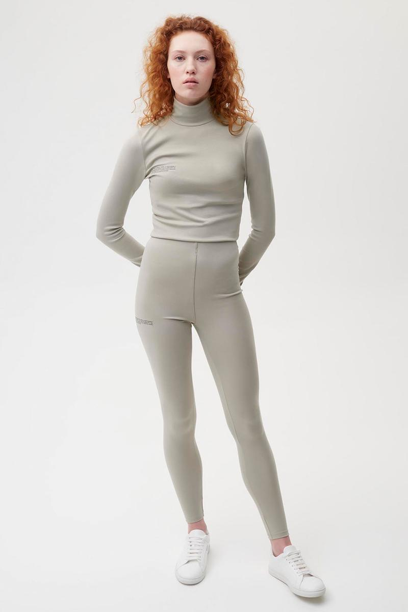 pangaia roica stretch athleisure sustainable collection turtleneck top leggings gray