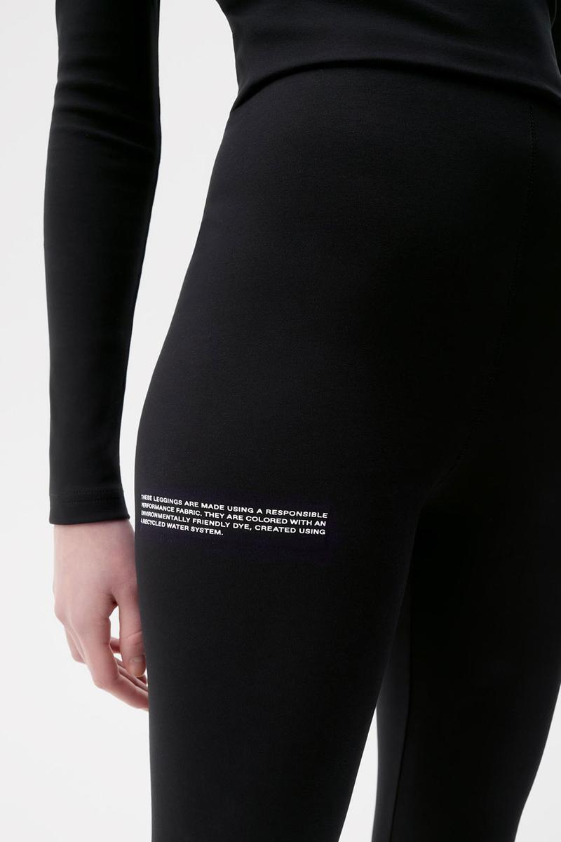 pangaia roica stretch athleisure sustainable collection turtleneck top leggings black