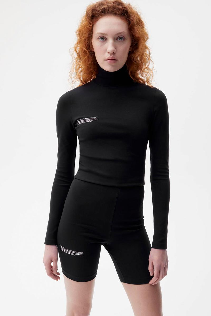 pangaia roica stretch athleisure sustainable collection turtleneck top bike shorts black