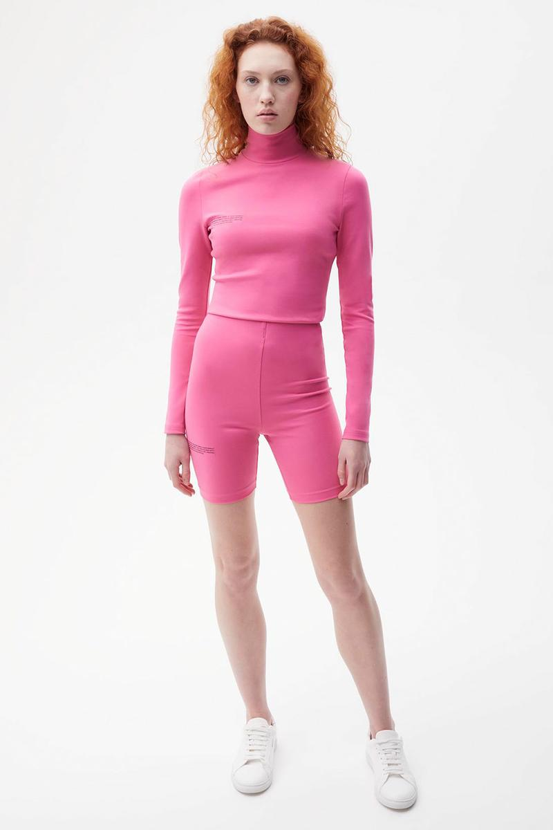 pangaia roica stretch athleisure sustainable collection turtleneck top bike shorts pink