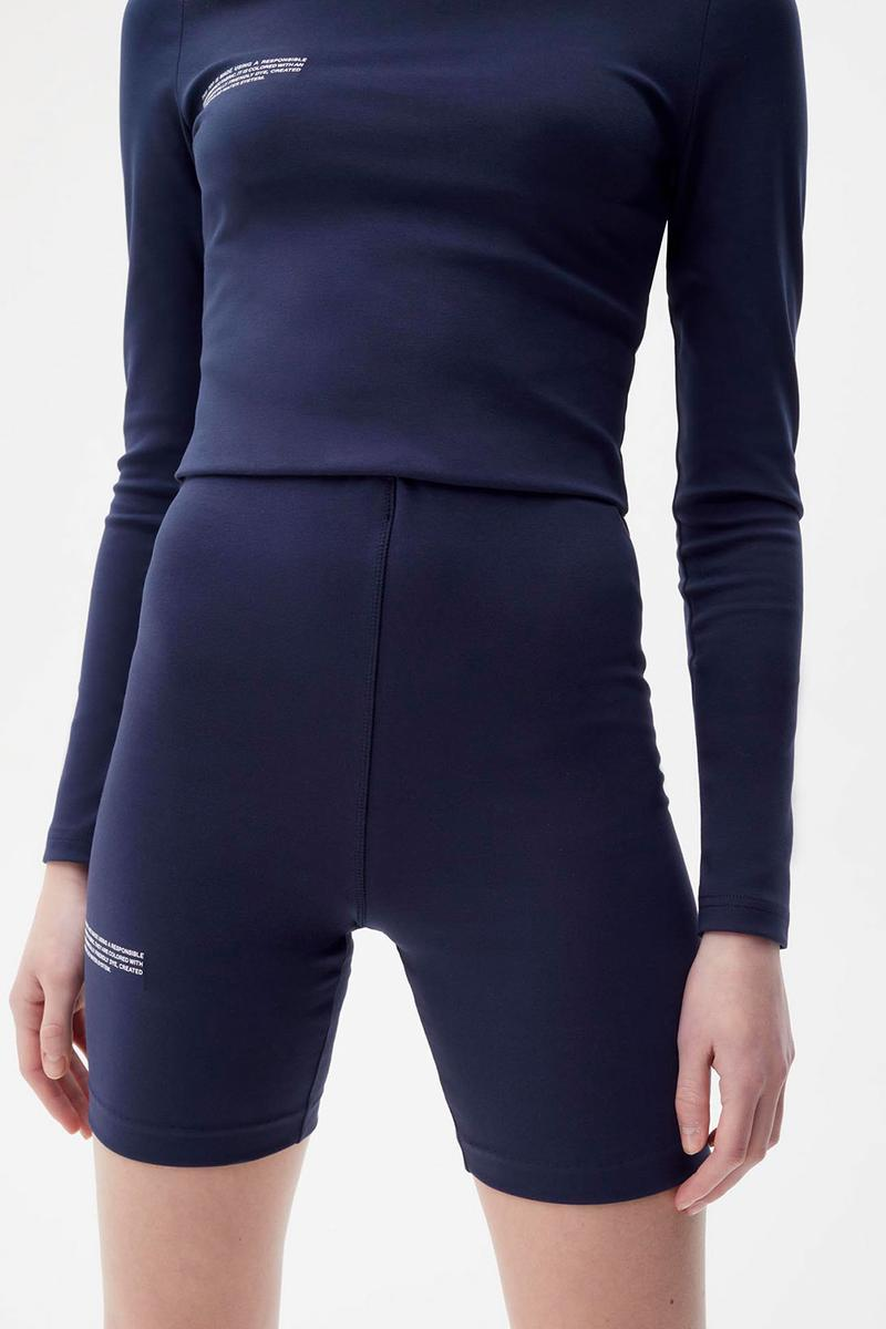 pangaia roica stretch athleisure sustainable collection turtleneck top bike shorts navy