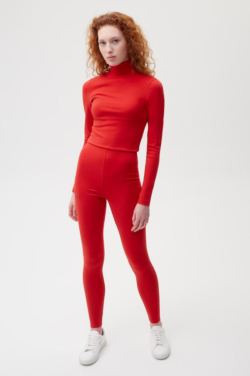 pangaia roica stretch athleisure sustainable collection turtleneck top leggings red