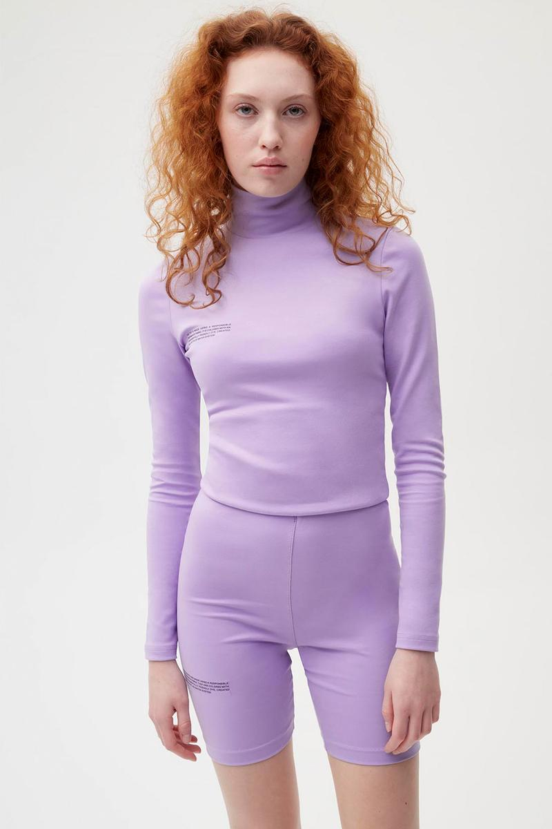 pangaia roica stretch athleisure sustainable collection turtleneck top bike shorts lilac purple