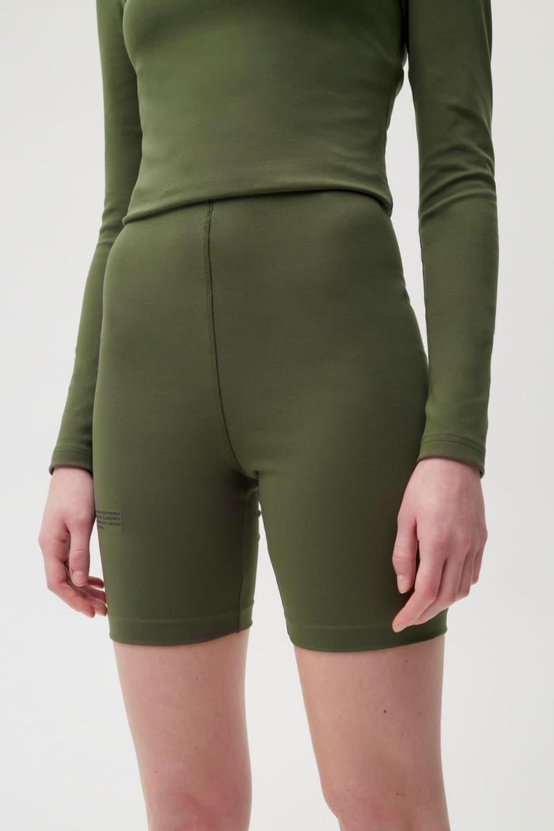 pangaia roica stretch athleisure sustainable collection turtleneck top bike shorts khaki