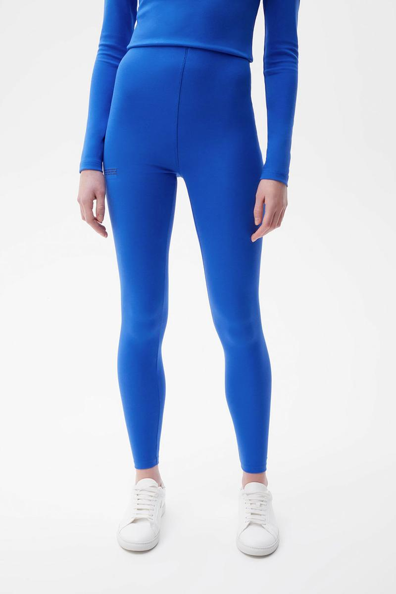 pangaia roica stretch athleisure sustainable collection turtleneck top leggings blue