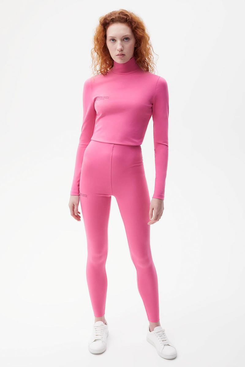 pangaia roica stretch athleisure sustainable collection turtleneck top leggings pink